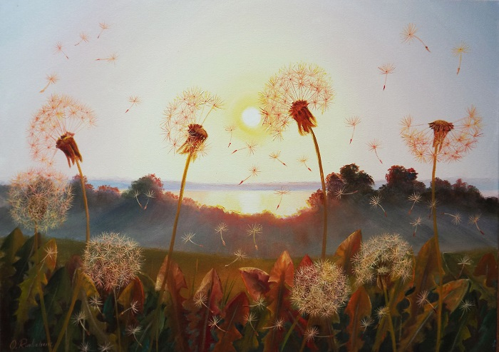 Sunset and Dandelions **SOLD**